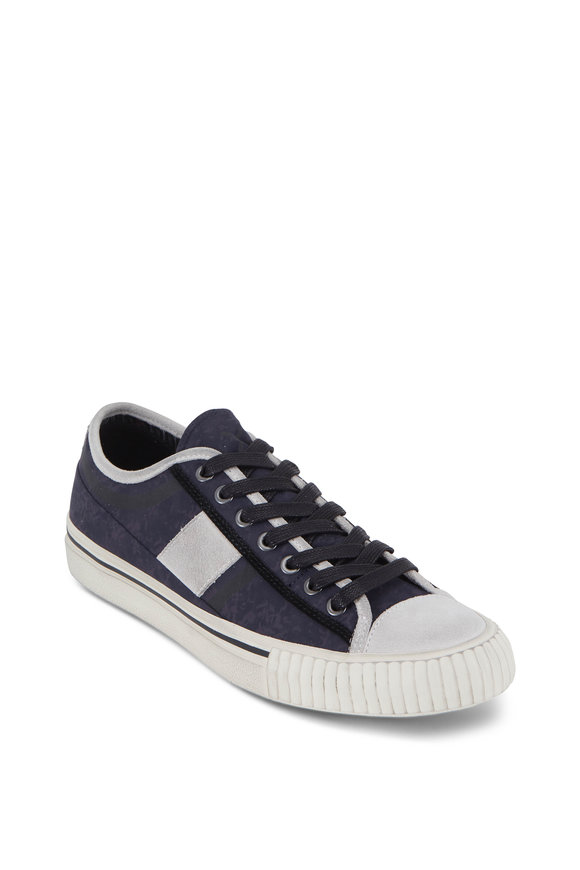 John Varvatos Navy Blue Vulcanized Canvas Low-Top Sneaker
