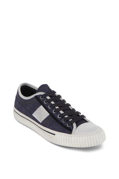 John Varvatos - Navy Blue Vulcanized Canvas Low-Top Sneaker