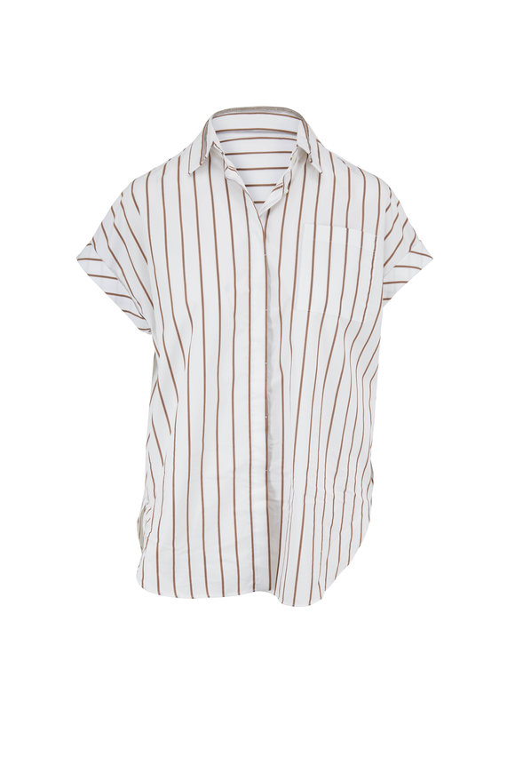 Brunello Cucinelli White & Brown Striped Poplin Cap-Sleeve Blouse