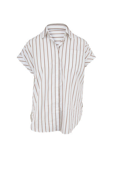 Brunello Cucinelli - White & Brown Striped Poplin Cap-Sleeve Blouse