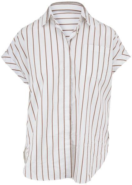 Brunello Cucinelli White & Brown Striped Poplin Cap-Sleeve Blouse