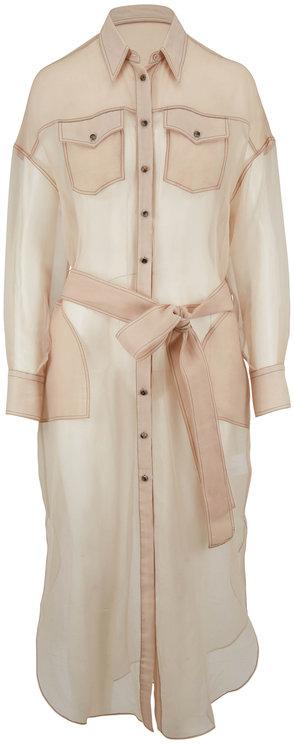 Brunello Cucinelli Sheer Almond Silk Chiffon Belted Shirtdress