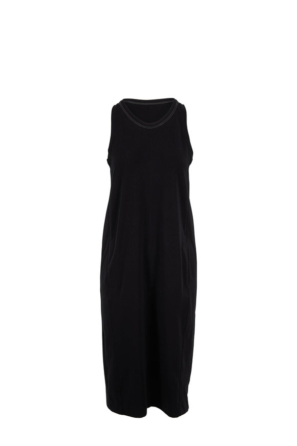 Brunello Cucinelli Black Couture Jersey Monili Neckline Dress