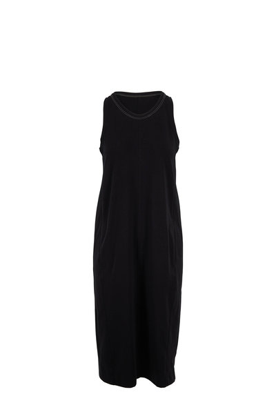 Brunello Cucinelli - Black Couture Jersey Monili Neckline Dress