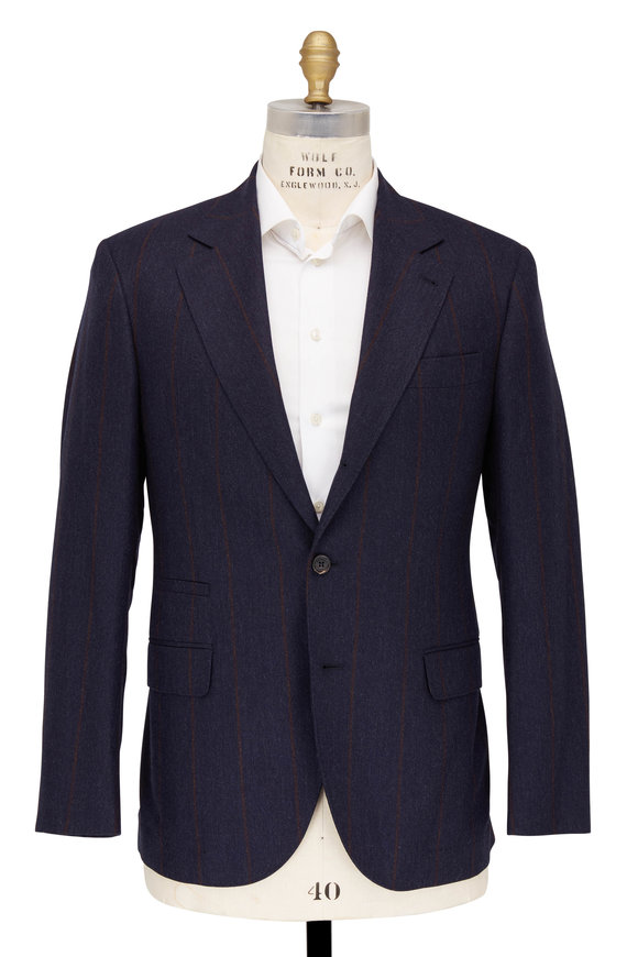 Brunello Cucinelli Navy Blue Wool Blend Striped Suit