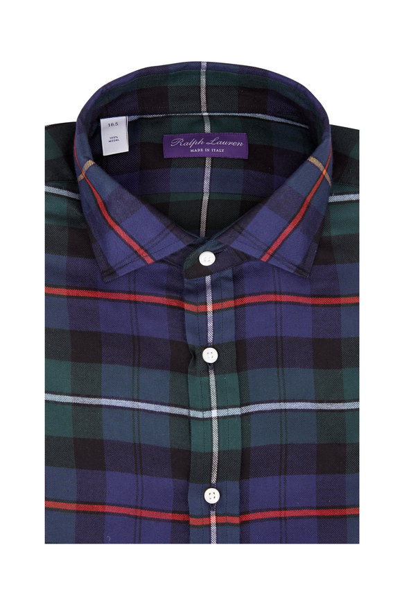 Ralph Lauren Navy Blue Multi Plaid Sport Shirt