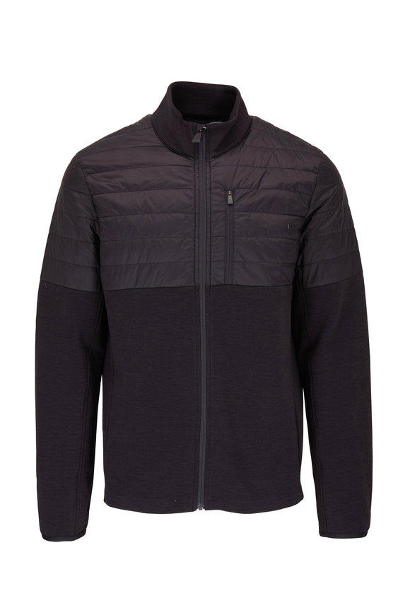 Aztech Mountain Space Black Half Quilted Front Zip Jacket