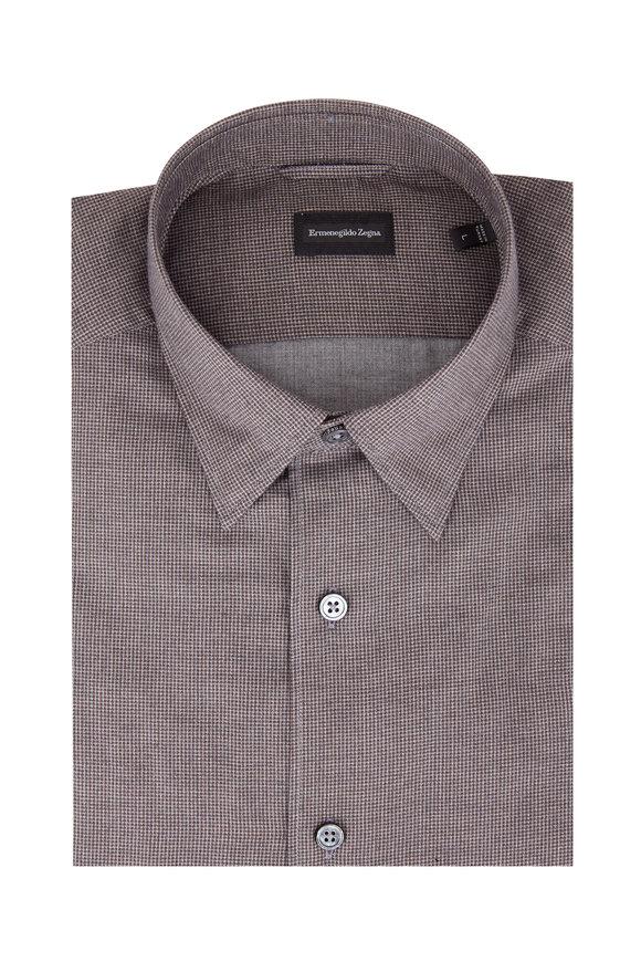 Ermenegildo Zegna Brown Mini Check Sport Shirt