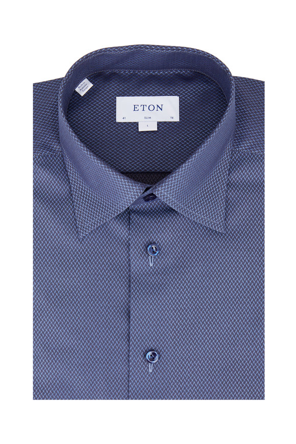 Eton Navy Blue Geometric Slim Fit Dress Shirt
