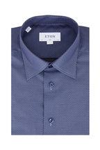 Eton - Navy Blue Geometric Slim Fit Dress Shirt