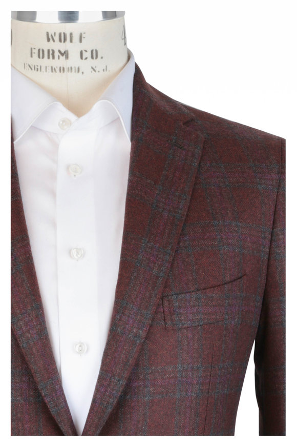 Mauro Blasi Rust & Gray Windowpane Wool Sportcoat