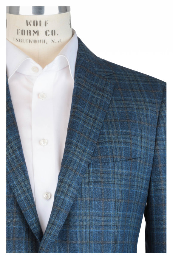 Mauro Blasi Teal & Gray Plaid Wool & Silk Sportcoat