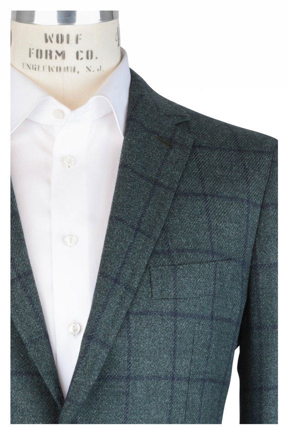 Mauro Blasi Green & Blue Windowpane Wool & Silk Sportcoat