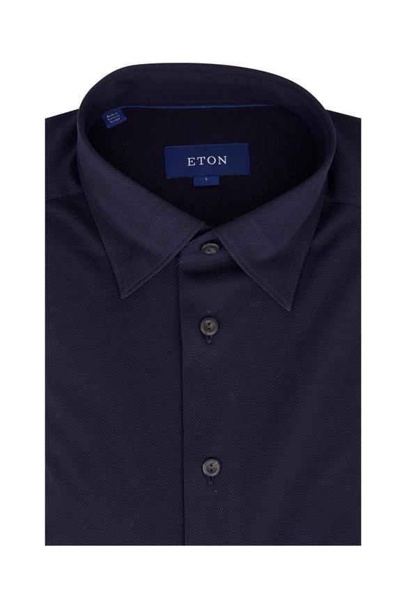 Eton Navy Blue Piquè Sport Shirt