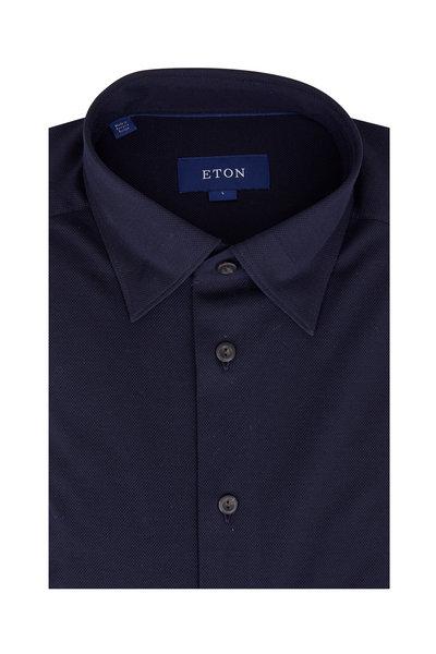 Eton - Navy Blue Piquè Sport Shirt
