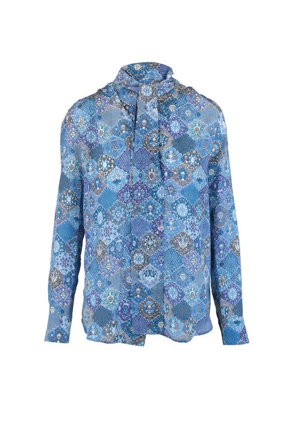Altuzarra Visage Blue Floral Print Silk Blouse