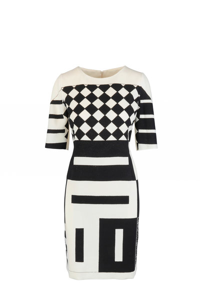 Akris - Cream & Black Kaleidoscope Print Wool Dress