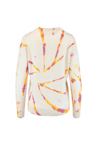 The Elder Statesman - Cream & Pink Burnout Dyed Cashmere Sweater
