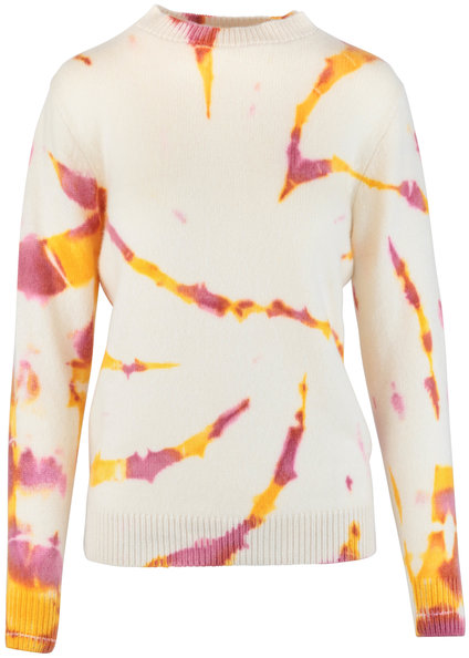The Elder Statesman Cream & Pink Burnout Dyed Cashmere Sweater