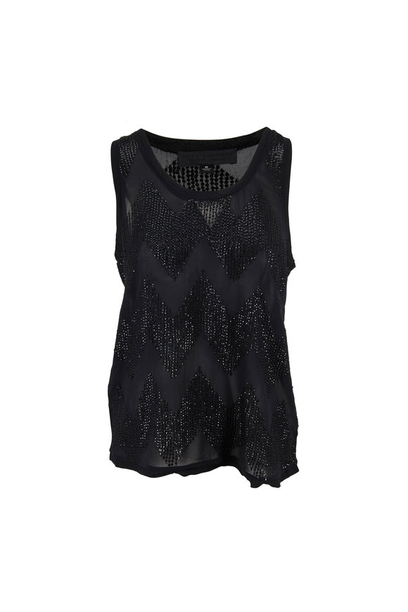 Nili Lotan Cosette Black Beaded Silk Scoopneck Tank