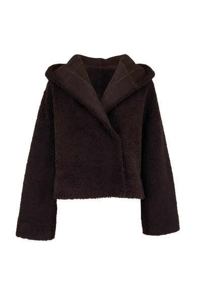 The Row - Lilou Espresso Shearling Hooded Jacket