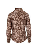 Rani Arabella - Taupe Leopard Print Silk Button Down