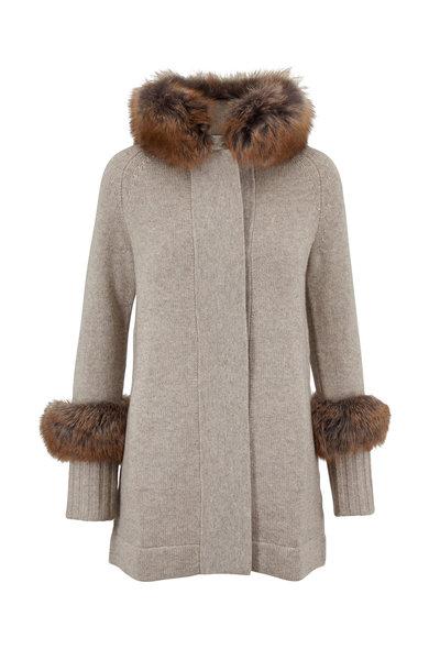 Kinross - Mink Wool & Cashmere Fur Trim Knit Coat
