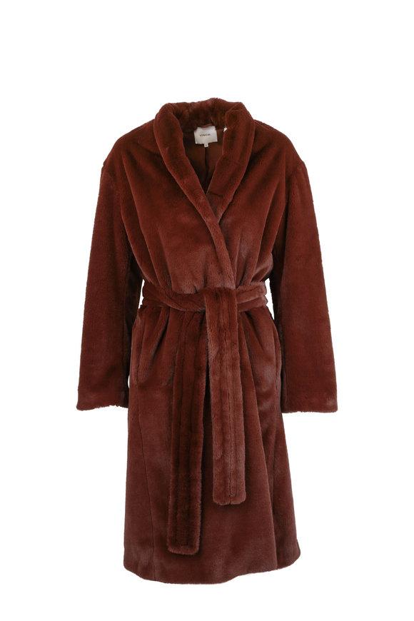 Vince Mahogany Long Plush Coat