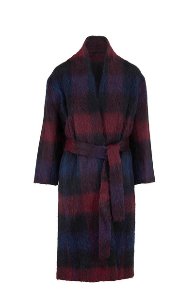 Vince - Raisin Blue Plaid Wool Blend Coat