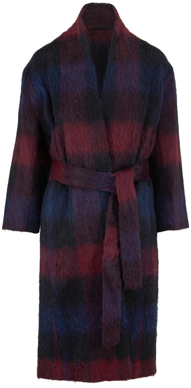 Vince Raisin Blue Plaid Wool Blend Coat