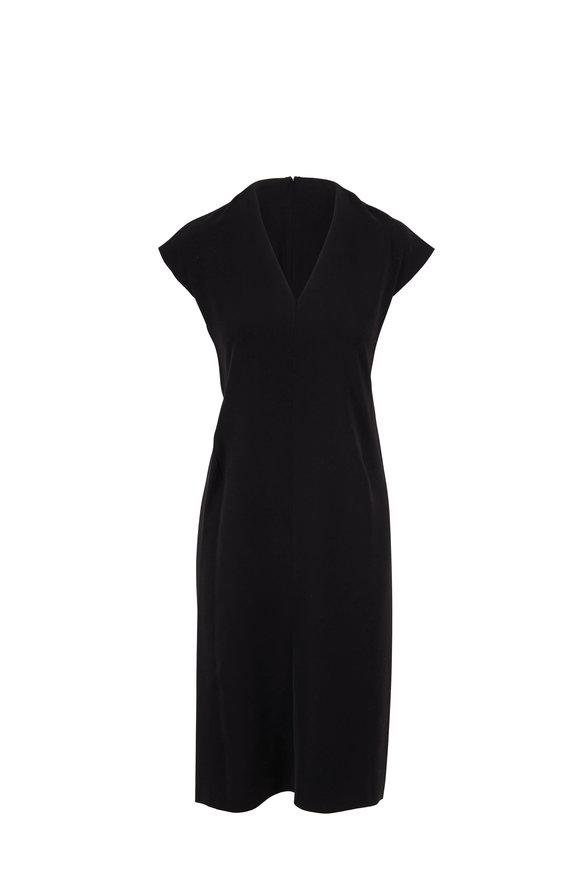 Vince Black V-Neck Cap Sleeve Pencil Dress
