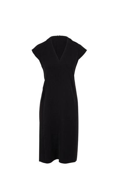 Vince - Black V-Neck Cap Sleeve Pencil Dress