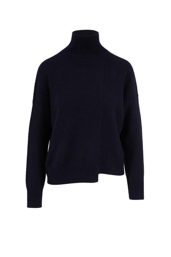 Vince Navy Blue Wool & Cashmere Step Hem Sweater