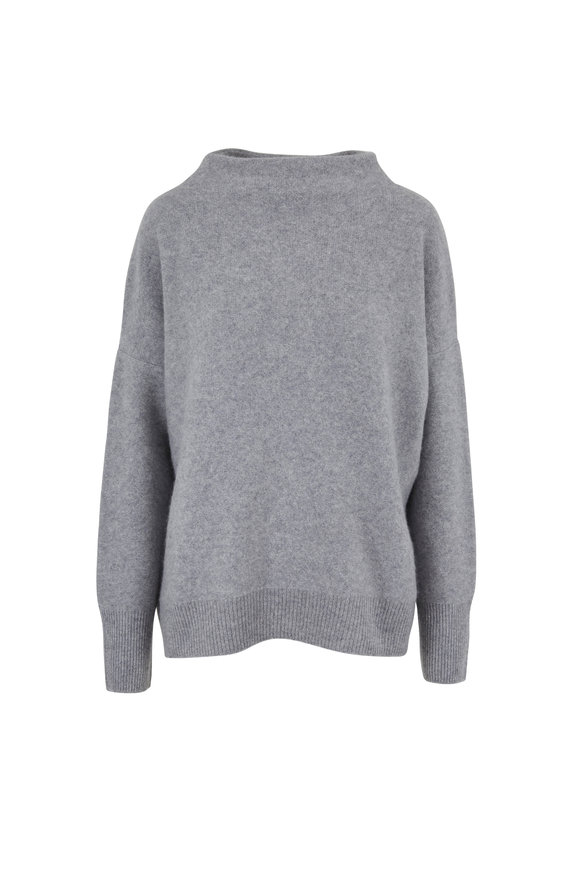 Vince Heather Gray Cashmere Funnel Neck Sweater