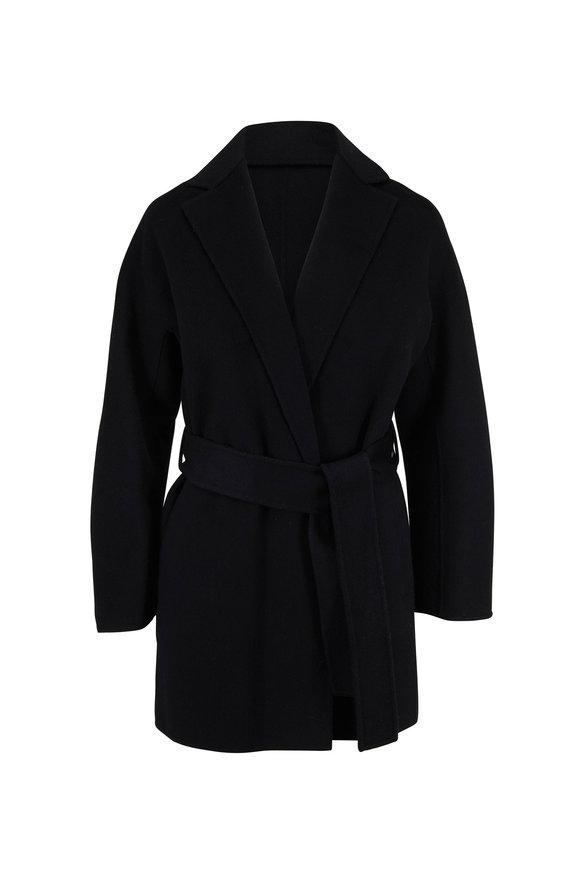 Vince Black Wool Belted Cardigan Coat