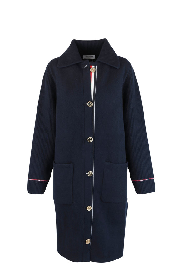 Thom Browne Navy Blue Wool & Cashmere Duffel Coat