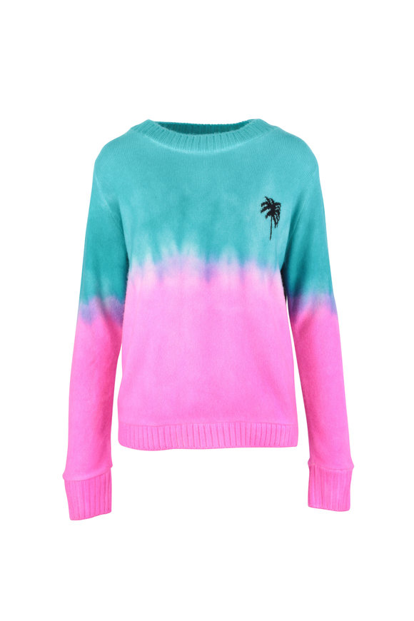 The Elder Statesman Turquoise & Pink Dip-Dyed Palm Cashmere Sweater