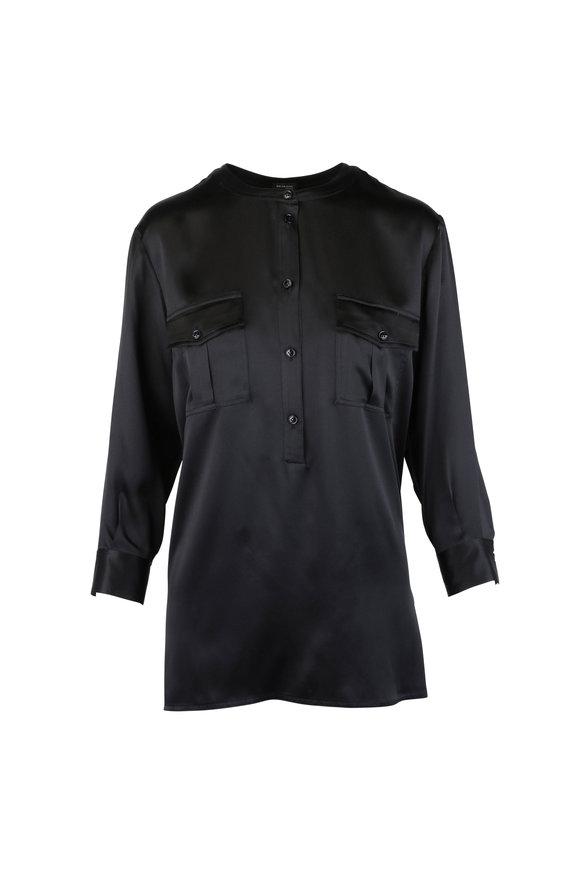 Kiton Black Silk Two-Pocket Blouse