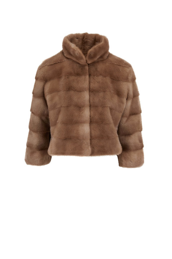 Oscar de la Renta Furs Pastel Dyed Mink Crop Jacket