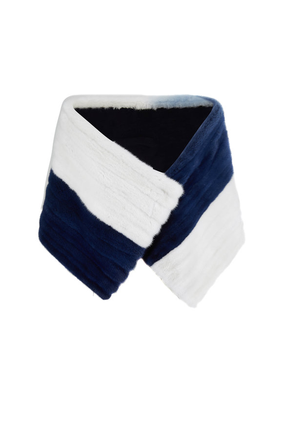Oscar de la Renta Furs White & Denim Blue Degrade Dyed Mink Stole