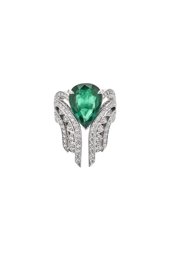 Stephen Webster White Gold & Emerald Couture New York Detach Ring