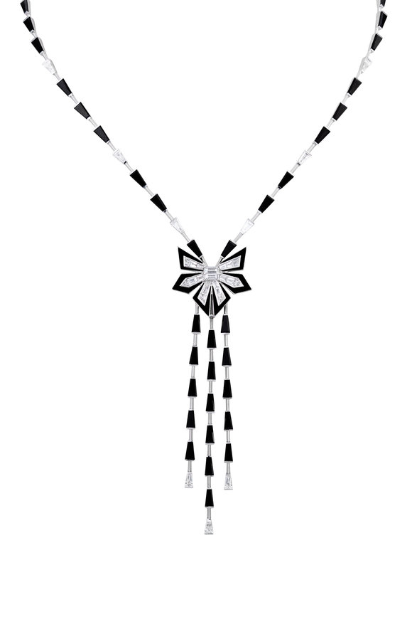 Stephen Webster White Diamond & Black Enamel Cascade Necklace
