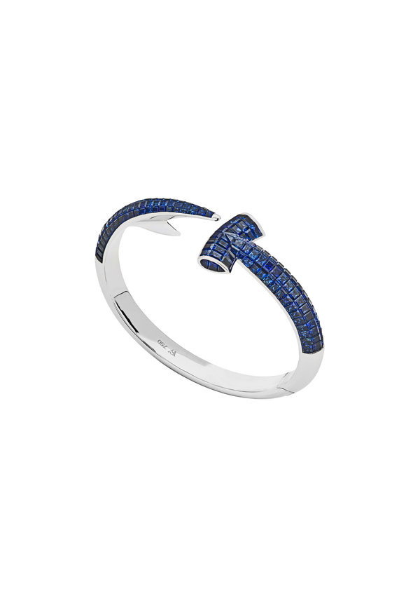 Stephen Webster White Gold & Sapphire Hammerhead Bangle Bracelet