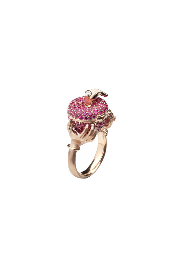 Stephen Webster Rose Gold Murder She Wrote Poison Red Apple Ring