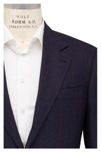 Brunello Cucinelli - Navy Blue Wool Blend Striped Suit