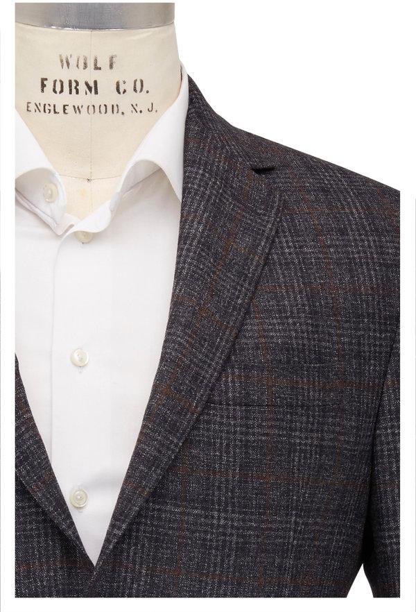 Maurizio Baldassari Charcoal & Brown Plaid Wool Sportcoat