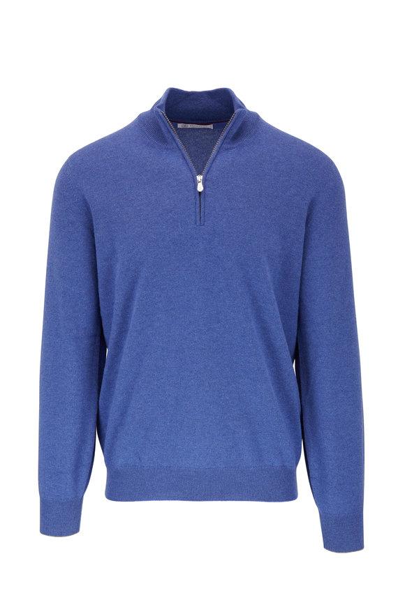 Brunello Cucinelli French Blue Cashmere Quarter-Zip Pullover