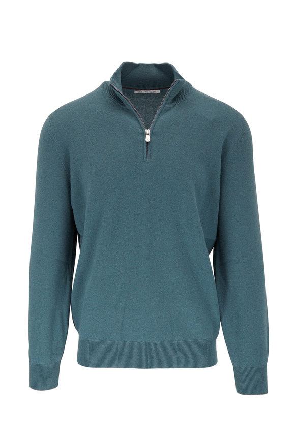 Brunello Cucinelli Teal Cashmere Quarter Zip Pullover