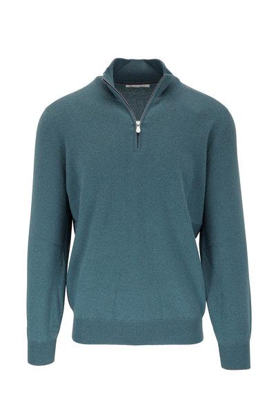 Brunello Cucinelli - Teal Cashmere Quarter Zip Pullover