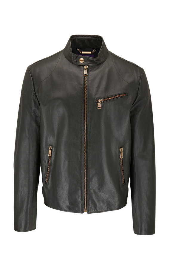 Ralph Lauren Hunter Green Leather Biker Jacket